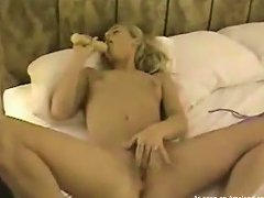 Free Porn Horny Blonde Teen Plays With A Dildo In Homemade Video