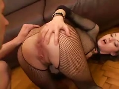 Free Porn Fishnet Body Stocking Looks Perfect On Her Young Body
