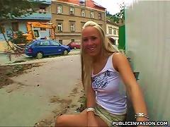 Free Porn Crazy Blonde Teen Sucks Cock In An Alley