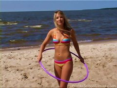 Free Porn Bikini Teen Strips On The Beach And Hula Hoops In The Nude