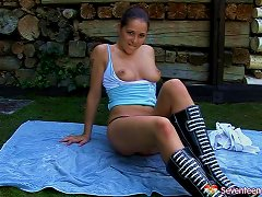 Free Porn Dark Haired Brunette Wearing Leather Boots Goes Solo As She Masturbates Outdoors