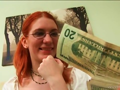 Free Porn Glassed Redhead Teen Gets Paid To Have A Threesome With Two Old