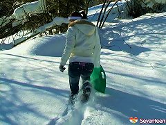Free Porn Extra-ordinary Outdoors Scene In Snowy Grounds Along Impatient Teen Girl