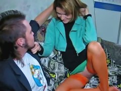 Free Porn Teen In Orange Nylons Takes Cock