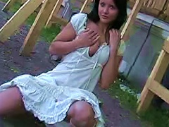 Free Porn Cute Teen In White Dress  Flashing