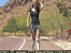 Free Porn Alexa Tender Amateur Blonde Babe Walking Outside