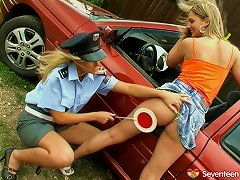 Free Porn Lesbian Officer Seduces A Teen Babe And Licks Her Shaven Cunt