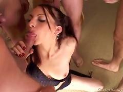 Free Porn Slut Sucks On Multiple Cocks & Ends Up Covered In Jizz.