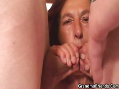 Free Porn Naughty Granny Takes Two Young Dicks