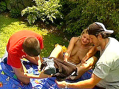 Free Porn College Sluts Entertaining With Their Boyfriends On The Back Yard After Classes.
