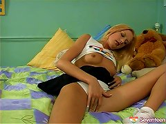 Free Porn Gorgeous Teen With Long Blonde Hair Playing With Her Tight Pussy