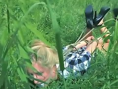 Free Porn Nasty Blonde Gets Punished By A Master In The Garden