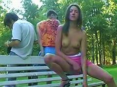 Free Porn Flashing Brunette Teen In A Park