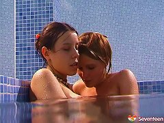Free Porn Alluring Lesbian Teen Messing Around In The Swimming Pool Hardcore