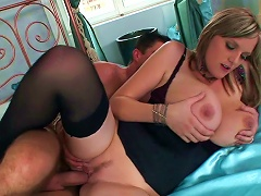 Free Porn Busty MILF Pleases Younger Stud