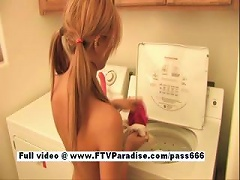 Free Porn Leslie Superb Naked Blonde  On A Washing Machine