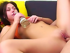 Free Porn Sexy Drunk Brunette Drinking While Getting Fucked