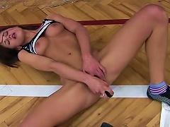 Free Porn Cute Teen Lola D Is Masturbating Her Crotch On The Floor