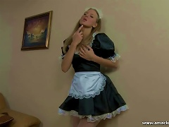 Free Porn Horny Blond Teen Anni Is A French Maid Who Likes Fucking