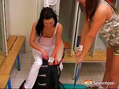 Free Porn Sporty Lesbian Chicks Dildo Each Other In The Locker Room