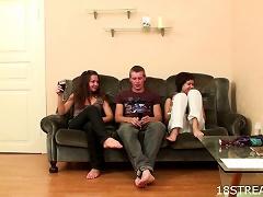 Free Porn Hot Threesome With The  Teens Jana And Jarka