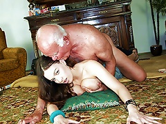Free Porn Horny Old Man Fucks A Slutty Brunette Teen With Big Natural Knockers