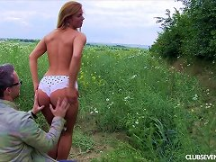 Free Porn Naturally Endowed Teen Babe Gets Fucked Outdoors By An Older Guy