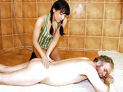 Free Porn Pigtailed Brunette Teen Massages And Old Man And Then Fucks His Cock