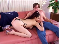 Free Porn Young Girl In A Thong Loves To Suck Older Man Cock