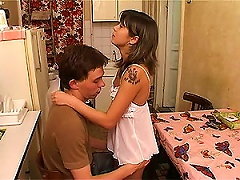 Free Porn Breakfast Fuck In The Kitchen With  Brunette Teen In Cute
