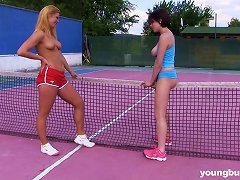 Free Porn Sex Starved Play Girls In Caresses And Cunt Lick In A Tennis Court Groupsex Action