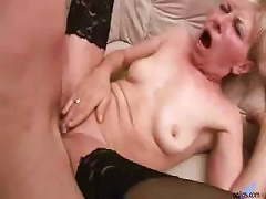 Free Porn Sexy Blonde Granny Gets A Younger Dude's Cock To Fuck Her Hard