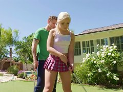 Free Porn Sweet Looking Teen With Bleach Blonde Hair Fucking In The Backyard