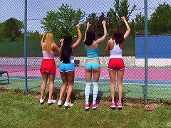 Free Porn These Superb-looking Chicks Are Having An Orgy On The Tennis Court!