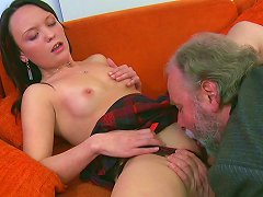 Free Porn Attractive Brunette Chick Pleased By A Horny Grandpa On The Couch