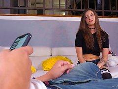 Free Porn Brunette Petite Amateur Teen Kenzie Ryans Gives A Close Up Pov Blowjob