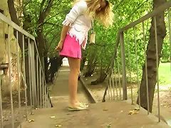 Free Porn Hot Russian Teen Blondie Pees In Her Pink Panties And Flashes It