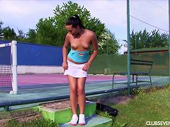 Free Porn Before Her Tennis Lesson She Sheds Her Panties And Fingers Courtside