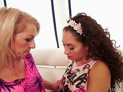 Free Porn Old Lady Gets Lusty With This Cute Teen Chick With Curly Hair
