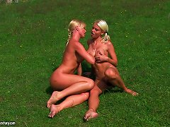Free Porn Delightful Blonde Lesbian With Long Hair Toying Her Anal Outdoor