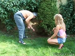 Free Porn Kira Banks The Sexy Blonde Gets Fucked By An Old Gardener