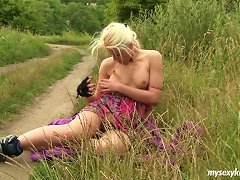Free Porn Pretty Blonde In A Sexy Thong Masturbates Erotically In A Close Up Shoot Outdoors