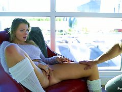 Free Porn Curvy Babe In A Fuzzy Sweater Climbs Into Bed And Fucks Him