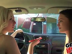 Free Porn Monica Rise In A Lesbian Threesome With Her Friends In A Car